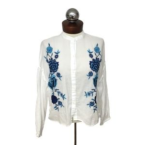 Zara Tops - Zara  floral embroidered button peasant top  S
